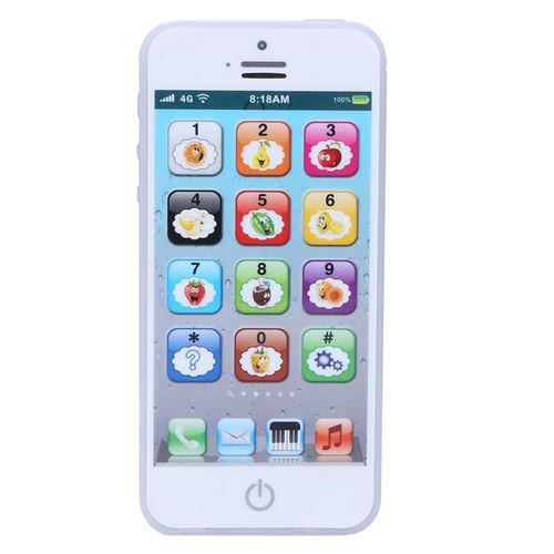 Téléphone simulé pour enfant éducatif jouet pour apprentissage Blanc