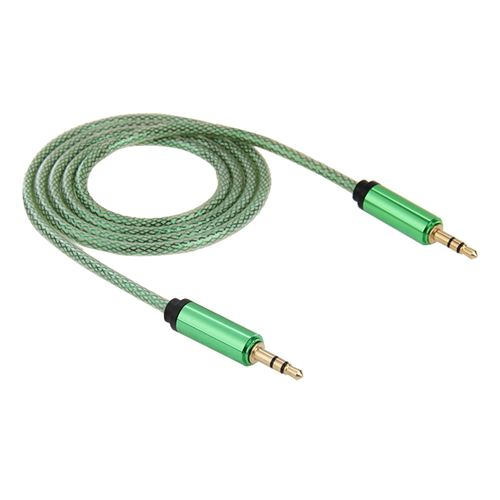 (#1) 3.5mm Male to Male Plug Jack Stereo Color Mesh Audio AUX Cable for iPhone, 1m(Green)