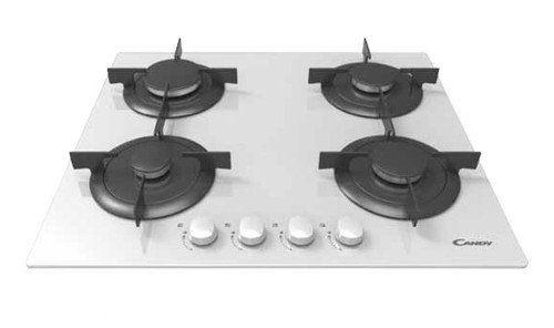 Candy CVG 64 SPB – Plaque (intégré, gaz, verre, rotatif, partie supérieure avant, 59,5 cm) Noir, Couleur Blanc