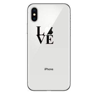 Coque Silicone IPHONE X Love Fun Amour Pomme Transparente Protection Gel Souple