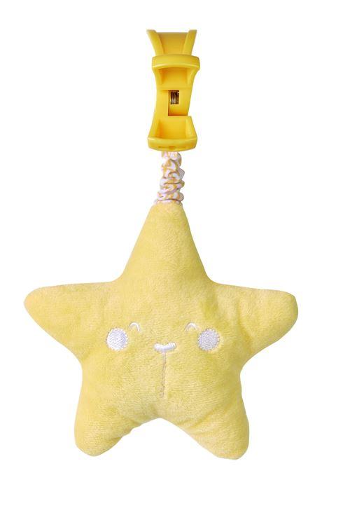 Saro figurine suspendue avec son étoile 21 cm polyester jaune