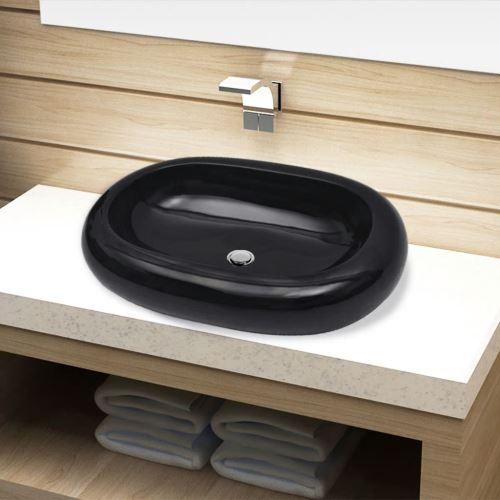 vidaXL Vasque ovale céramique Noir pour salle de bain