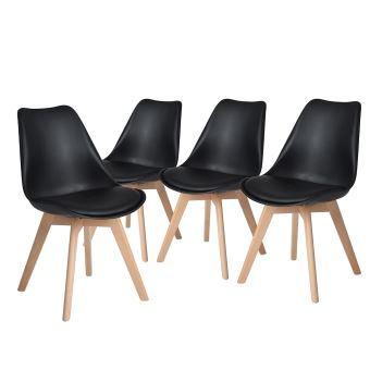 4 Chaises Scandinave Plastique PP Bois Noir