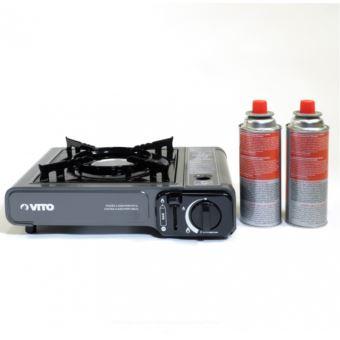 nouveau concept 611ac d42d6 Rechaud gaz portable piezo + 2 cartouches gaz à baillonnette. Rechaud  camping gaz butane propane