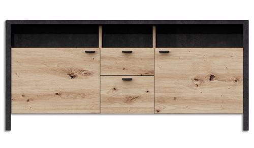 Meuble buffet coloris artisan chêne / acier foncé - 143 x 65 x 40,5 cm -PEGANE-
