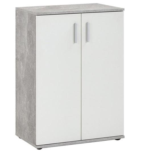 Commode coloris gris béton LA/blanc - L.60 x H.83 x P.35 cm -PEGANE-