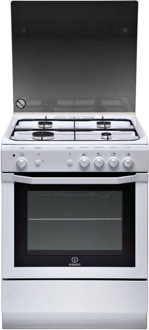 Indesit I6GGC2G (W) FR - Cuisinière - pose libre - largeur : 60 cm - profondeur : 60 cm - hauteur : 85 cm - avec système auto-nettoyant - blanc