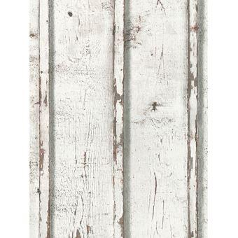 Planches en bois rustique papier peint blanc d cors et stickers achat prix fnac - Meuble rustique peint en blanc ...