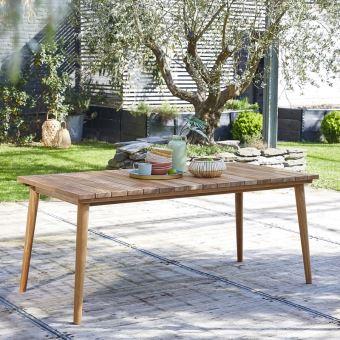 Table de jardin en bois de teck 6 à 8 places - Mobilier de ...