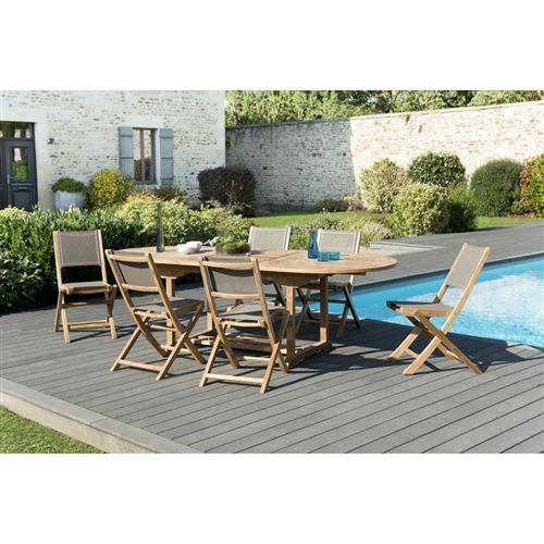 Salon de jardin en bois teck grade A: 1 table ovale extensible 180/240*100cm et 3 lots de 2 chaises pliantes textilène taupe