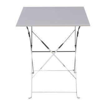 Table De Jardin Pliante Carrée Coloris Taupe - Dim : 60 X 60 X 71 Cm ...