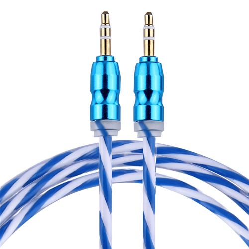 (#1) Color Style Metal Head 3.5mm Male to Male Plug Jack Stereo Audio AUX Cable for iPhone, 1m(Blue)