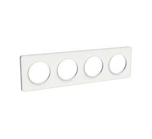 Plaque Odace Touch - Blanc sans liseré - Quadruple horizontale / verticale 71mm
