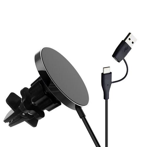 Chargeur sans Fil Voiture Support Téléphone Induction 15W Compatible avec Samsung S20/S10Plus/S9, 15W pour iPhone 12/12 Mini/11/XR