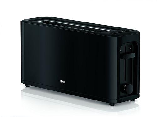 Braun ht3110bk – Grille-pain, 1000 W, 1 port, contrôle déplacement, grille démontable, stockage de câble, Noir