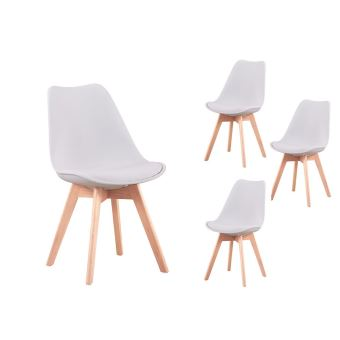 lot de 4 chaises scandinaves andrea avec coussin et pieds. Black Bedroom Furniture Sets. Home Design Ideas