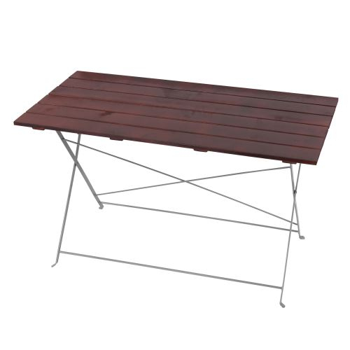 Table de jardin ou de brasserie Berlin, pliable, bois huilé, 120x60x70cm ~ brun foncé