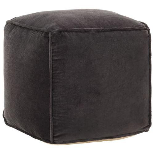 Pouf Velours de coton 40 x 40 x 40 cm Anthracite