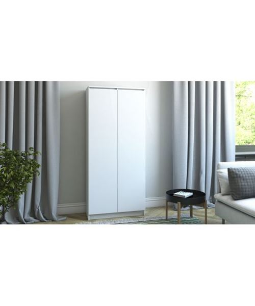 PRATO   Meuble de rangement portes 8 casiers/2 tiroirs bureau/salon/chambre  30x60x180   Bibliothèque contemporaine   Etagères livres   blanc