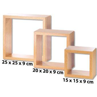 de noyer 3 bois murales Aspect étagères cubes Achat 7yfb6gYv