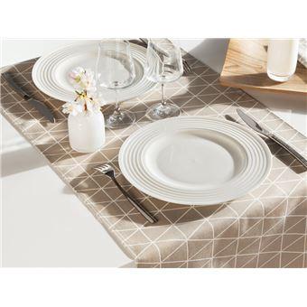 chemin de table cotonpolyes teflon antitache triangle scandinave 45x150cm beige fika achat prix fnac