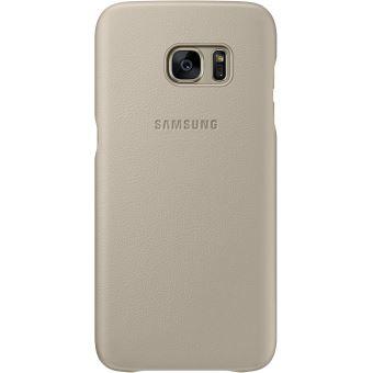 Coque Samsung en cuir Beige pour Galaxy S7 Edge