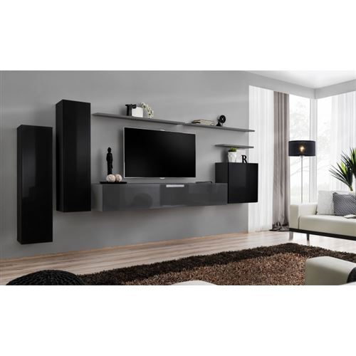 Ensemble meuble salon SWITCH I design, coloris noir et gris brillant.