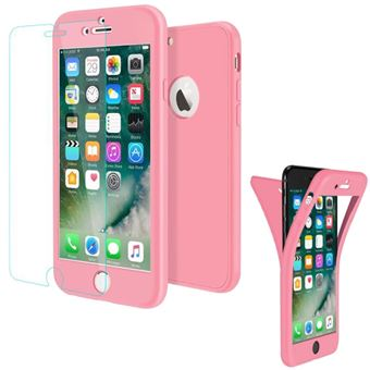 Coque Gel Silicone IPhone 7 Integrale 360Full Protection Verre Trempe Couleur Rose Etuis Houe