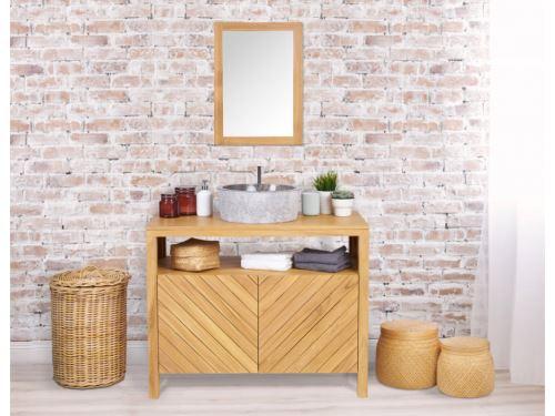 Miroir de salle de bain en bois teck TIKOVO - 50x70 cm ...