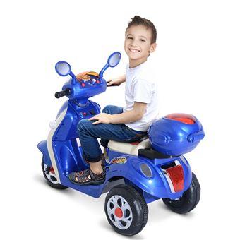 7558efc6a0cfa -76€90 sur Moto scooter électrique pour enfants 6 V env. 3 Km h 3 roues et  topcase effet lumineux et sonore bleu - Véhicule électrique pour enfant -  Achat ...