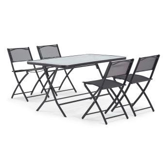 Table de jardin et 4 chaises pliantes en acier et verre - - Noir