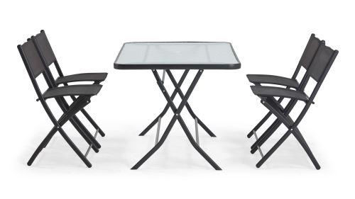 Table de jardin et 4 chaises pliantes en acier et verre ...