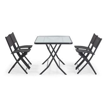 Table de jardin et 4 chaises pliantes en acier et verre - Noir ...