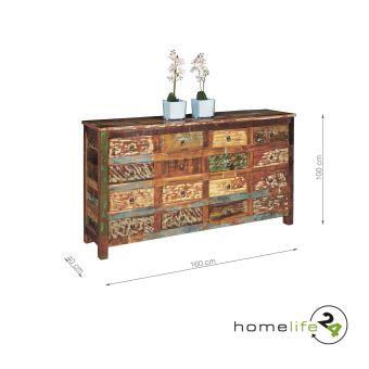 Commode unique avec 16 tiroirs multicolore style Vintage bois massif ...