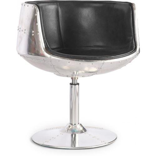 Myfaktory - Chaise brandy aviator - cuir premium noir