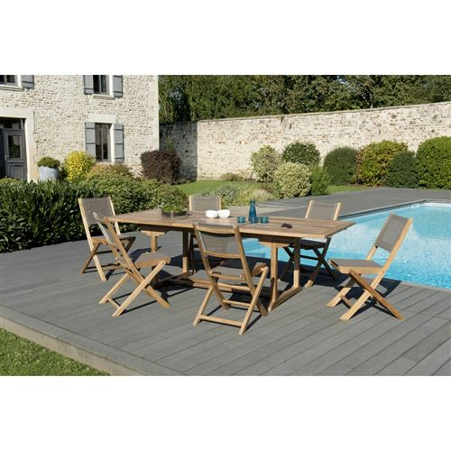 Salon de jardin bois teck grade A: 1 table rectangulaire ext 180/240*100cm et 3 lots de 2 chaises pliantes textilène taupe