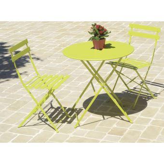Table De Jardin Ronde Coloris Vert En Métal ( Chaises Non Inclues ...