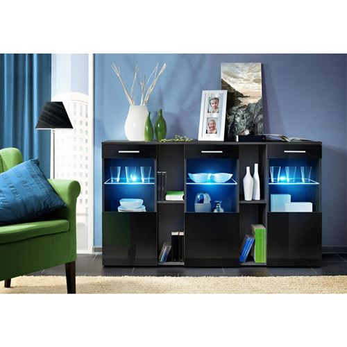 Paris Prix - Buffet 3 Portes Design dorade 160cm Noir