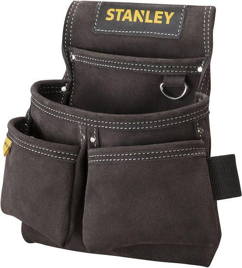 Stanley Stst1-80116 Porte-Outils En Cuir Qualité Supérieure - 4 Poches - Accroche Spéciale Mètre - Renforts Par Rivets - Double Couture Piquée - Passage Lare Pour Ceinture - 30 X 7 X 33 Cm