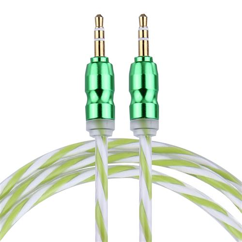 (#1) Color Style Metal Head 3.5mm Male to Male Plug Jack Stereo Audio AUX Cable for iPhone, 1m(Green