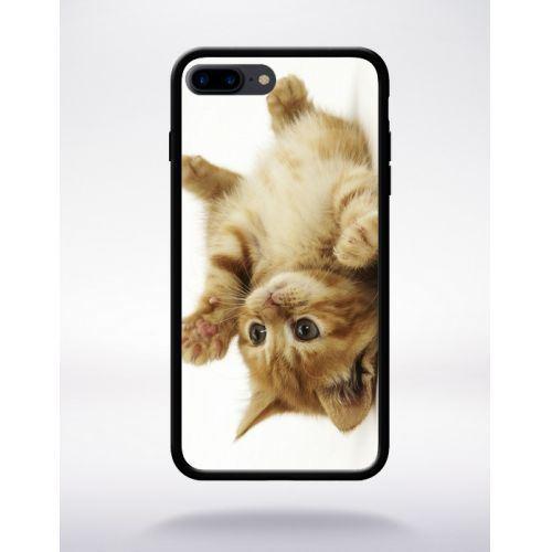 Coque petit chaton mignon compatible apple iphone 7 plus bord noir silicone