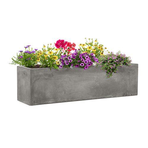 Blumfeldt Solidflor - Bac à plantes jardinières - 75 x 20 x 20 cm - Fibre de verre - Aspect béton - gris clair