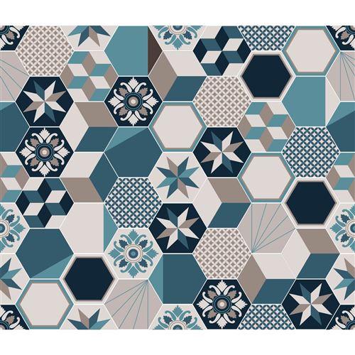Crédence adhésive carreaux en aluminium Exa - L. 20 x l. 20 cm - Bleu - Design CPM - Exa