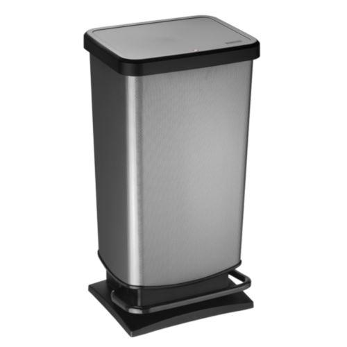 ROTHO Poubelle à pédale PASO 40 litres carré carbone métallique | Poubelle pour une élimination facile des déchets