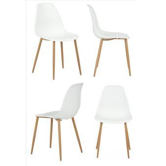 4 Chaises Scandinave Plastique Metal Bois Blanc