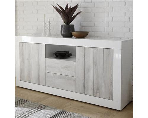 Buffet blanc laqué et couleur pin moderne 180 cm MABEL 3-L 180 x P 42 x H 86 cm- Blanc