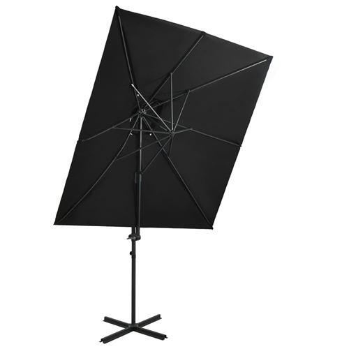 vidaXL Parasol déporté à double toit Noir 250x250 cm