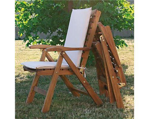 Fauteuil en bois avec coussin écru BEGONIA - L 65 x P 85 x H 108 cm