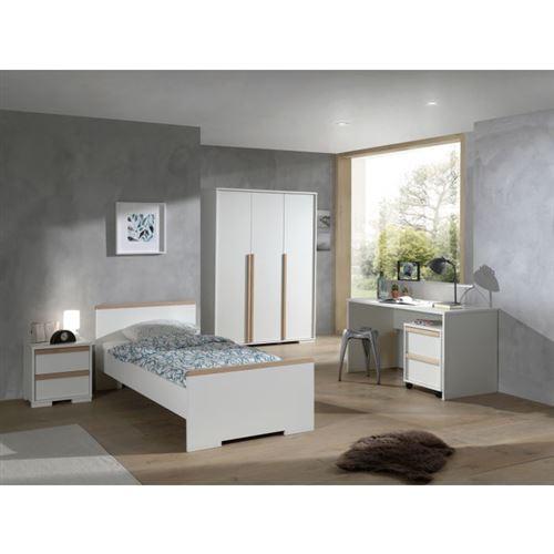 Lit 90x200 - Chevet 2 tiroirs - Armoire 3 portes - Bureau et Caisson de bureau London - Blanc