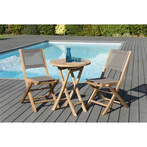 Salon de jardin en bois teck grade A, comprenant 1 table ronde pliante 60*60cm et 1 lot de 2 chaises pliantes textilène taupe